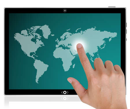 The best PC tablet computer and hand pushing a button on a touch screen interface in wide world. photo