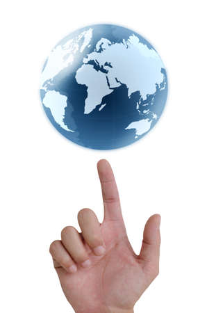 concept hand pointing earth globe. Stock Photo - 10682131