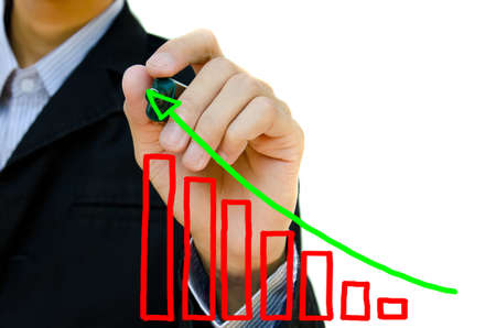 Young business hand drawing showing graph. Stock Photo - 10682058