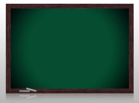 Empty Greenboard with wooden frame isolate on white background. photo