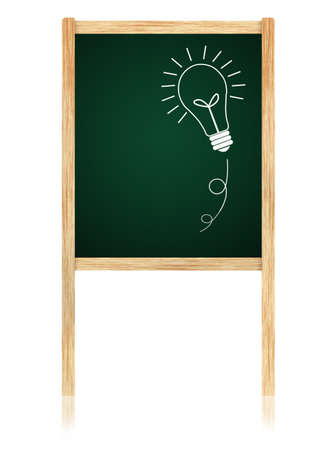 bulb idea on Greenboard with wooden frame isolate on white background. Archivio Fotografico
