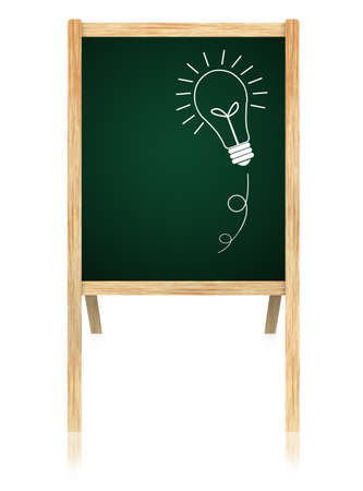 bulb idea on Greenboard with wooden frame isolate on white background. Stock Photo - 11006118