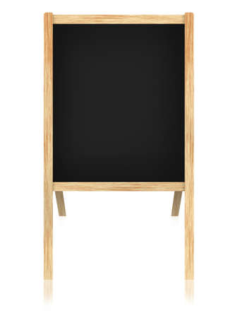 Empty blackboard  with wooden frame isolate on white background. photo