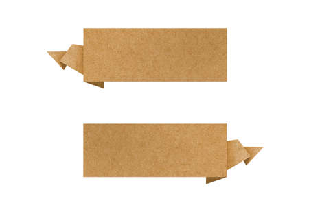 Label recycled paper craft for make note stick on white background. photo
