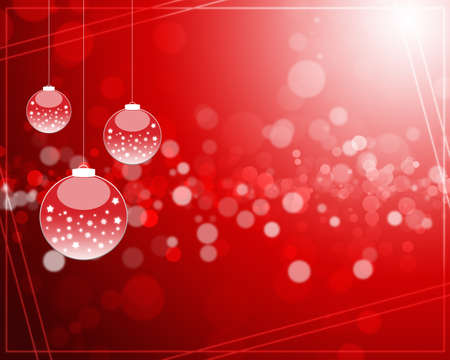 Abstract background with Christmas tree balls red and colored lights on Christmas. photo