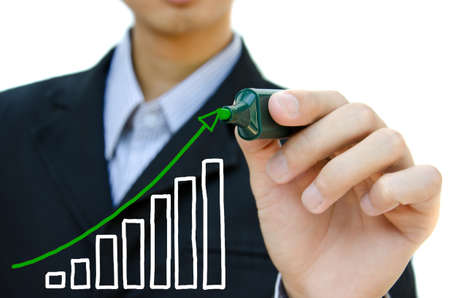Young business hand drawing showing graph. Stock Photo - 11006066