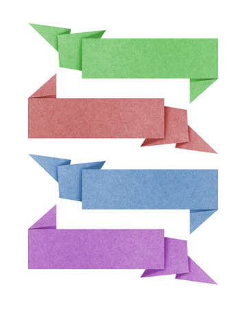 dhesive note: Label recycled paper craft for make note stick on white background.