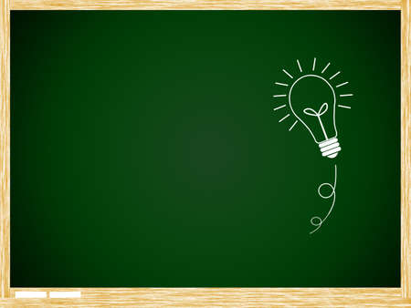 greenboard: bulb idea on Green board with wooden frame isolate on white background.