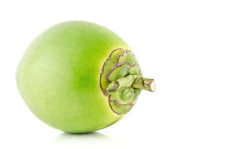 Green coconut Fruit isolated on white background. Archivio Fotografico