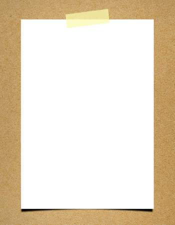yellow tacks: Blank note paper on board background Stock Photo