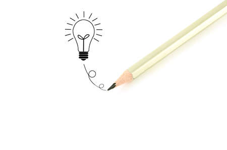 Pencil  writingฺ bulb idea isolated on white background. Stock Photo - 11269538
