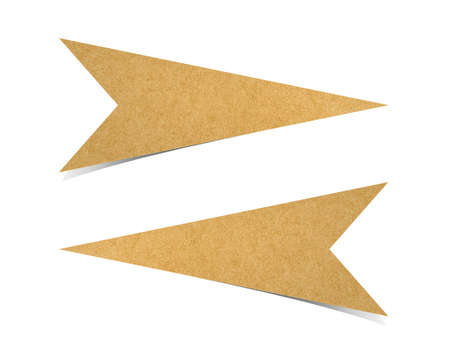 dhesive note: arrow recycled paper craft for make note stick on white background.