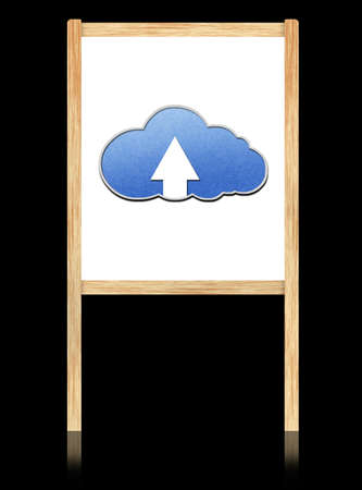 Cloud computing concept on white board with wooden frame photo