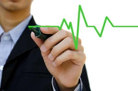 hand beats: Hand drawing heartbeat symbol.