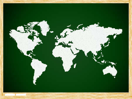 Map world on Green board with wooden frame photo