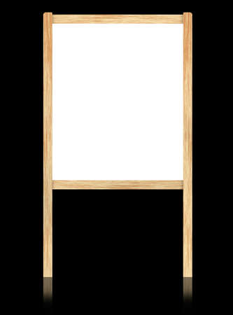 Empty white board with wooden frame isolate on black background. photo