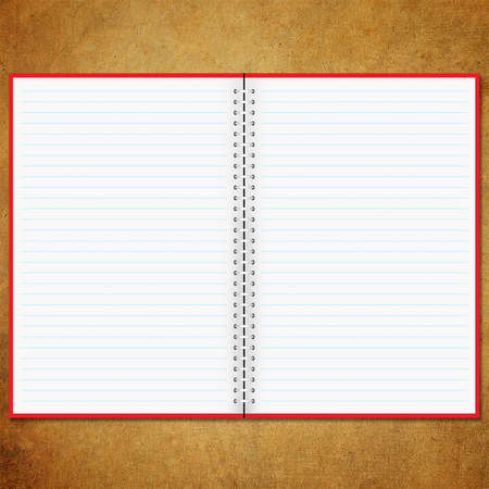 Blank notebook old board background photo