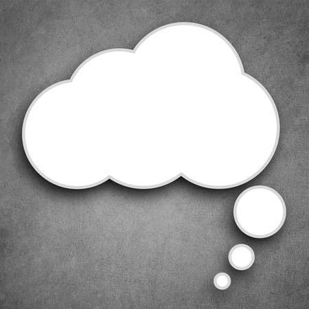 blank speech bubble on gray background  Stock Photo - 12696273