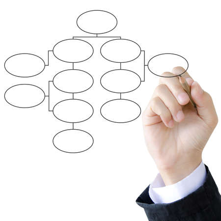 businessman hand drawing flowchart in a whiteboard Stock Photo - 12695481