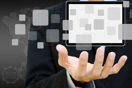 portable information device: blank tablet computer and button on hand