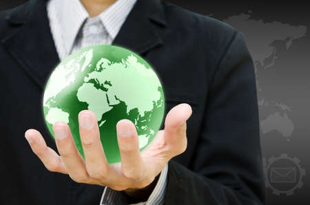 save earth: hand holding the earth globe