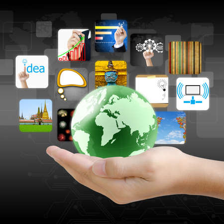 businessman hand holding world with image business collection Stock Photo