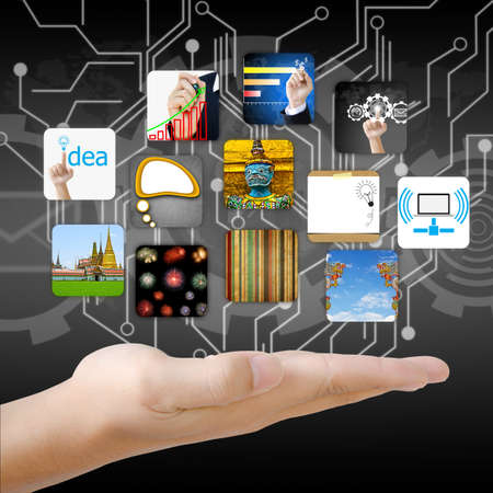 businessman hand holding world with image business collection Archivio Fotografico