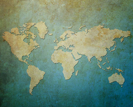 vintage world map: Map world on paper background Style Grunge Stock Photo
