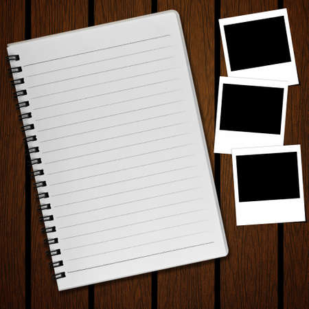 scribbling: Blank notebook and photo on old wood background Stock Photo