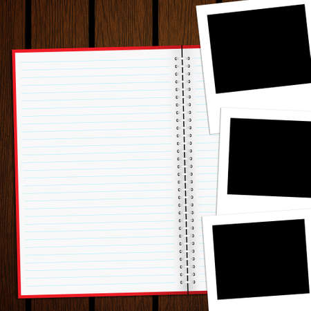Blank notebook and photo on old wood background Stock Photo