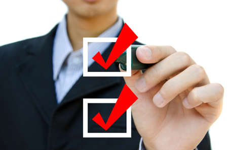 Business hand choosing mark the check boxes of many options Stock Photo - 12695873