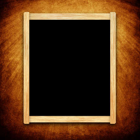 Empty menu board with wooden frame on grunge background