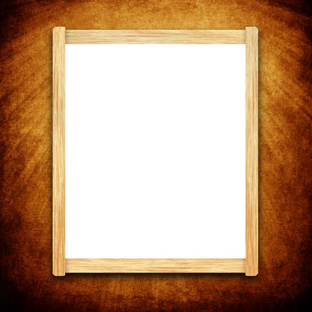 Empty menu board with wooden frame on grunge background photo