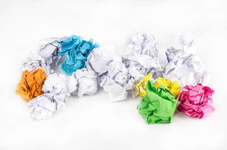 wastrel: Crumpled Paper ball isolated on white background.