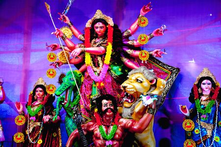 Goddess Durga Idol decorated at Durga Puja Pandal in village of rural West Bengal the biggest religious festival of people of west Bengal or Bengalis depicting victory of evil Stock fotó - 133163350