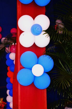 Close up of colorful balloons used for decoration in the pillars and ceiling