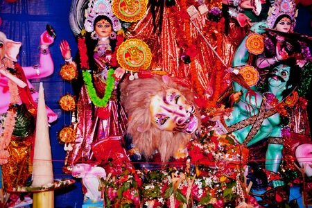 Goddess Durga Idol at decorated at Durga Puja Pandal in village of rural West Bengal the biggest religious festival of people of west Bengal or Bengalis