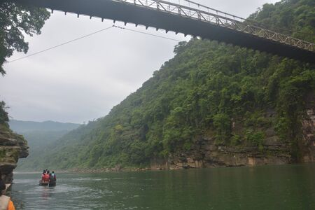 The hanging suspension  bridge of  Umngot river in Dawki, Shillong, Meghalay near India-Bangladesh border as seen from below the river
