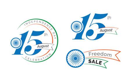 15th August Celebration Badge, Label Design Vector Illustration Illustration