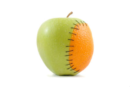 genetically engineered: An apple with orange implant