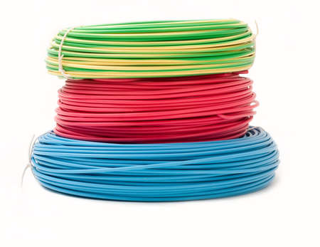 electrical cable: Green, red and blue wire bundles isolated on white