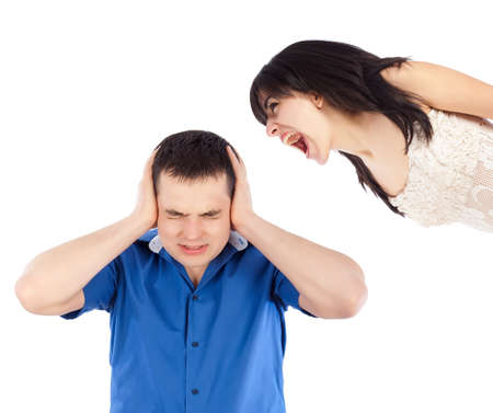 lovers quarrel: Quarrel between lovers, the woman shouting at her boyfriend  Stock Photo