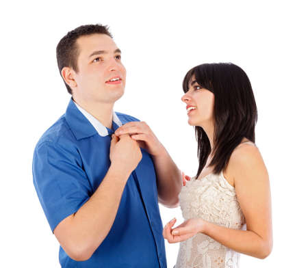 inattentive: Man not listening to what the woman is saying. Stock Photo