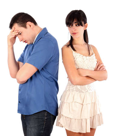 man scolding: Woman being severe with her boyfriend. Stock Photo