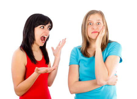 hysterical: Brunette scolding her best friend, shouting at her