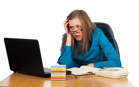 business concern: Young businesswoman feeling exhausted because of too much work  Stock Photo