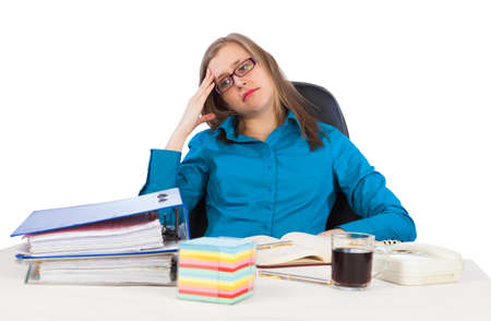 Young businesswoman has too much work to do  photo