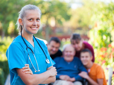 nursing young: Young confident doctor at the nursing home