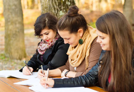 finals: Young beautiful students Studying for their finals