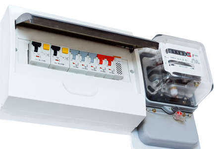 Fuse box isolated on white - electricity consumption. Stock Photo - 25324432